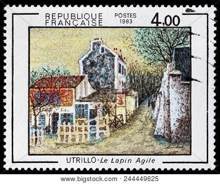 Luga, Russia - June 07, 2018: A Stamp Printed By France Shows Painting Cabaret Nimble Rabbit By Maur