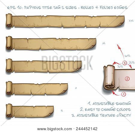 Vector Illustration Of A Papyrus Tittle Scroll Tag With Rolled And Folded Edges. Set Of Five Sizes S