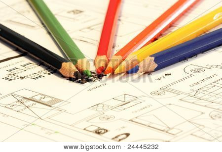 home plans with colorfull crayons and pencils poster