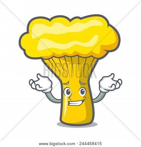 Grinning Chanterelle Mushroom Character Cartoon Vector Illustration