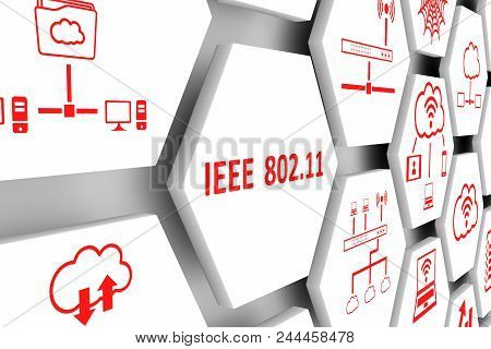 Ieee 802 11 Concept Cell White Background 3d Illustration