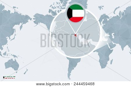 World Map Centered On America With Magnified Kuwait. Blue Flag And Map Of Kuwait. Abstract Vector Il