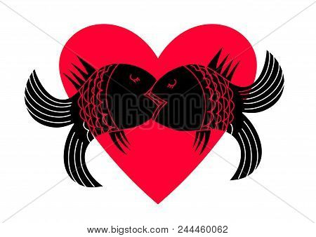 Fish In A Passionate Kiss On The Background Of Heart. Kiss Icon. Kiss Vector. Two Kissing Fish Isola
