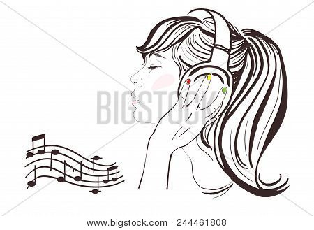 Pretty Girl With Long Hair In Headphones. Vector Hand-drawn Illustration. Woman Face Profile. Notes,