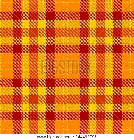 Tartan Seamless Pattern. Orange And Yellow Plaid. Tartan Flannel Background. Trendy Tiles Illustrati
