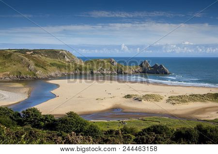 Three Cliffs Bay On The Gower Peninsular, West Glamorgan, Wales, Uk, Which Is A Popular Welsh Coastl