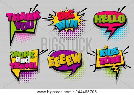 Thank You Big Win Hello Pop Set Hand Drawn Pictures Effects Template Comics Speech Bubble Halftone D