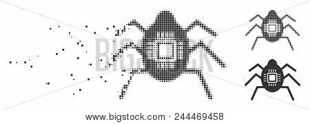 Grey Vector Hardware Bug Icon In Dispersed, Pixelated Halftone And Undamaged Solid Variants. Disappe