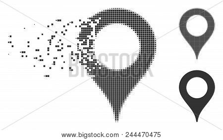 Grey Vector Map Marker Icon In Dissolved, Dotted Halftone And Undamaged Whole Versions. Disintegrati