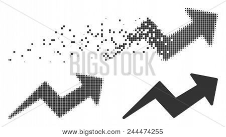 Grey Vector Trend Up Arrow Icon In Dissolved, Dotted Halftone And Undamaged Solid Versions. Disinteg