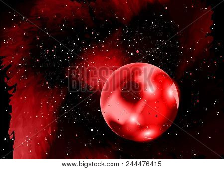 One Red Planet In Deep Space. Star Field In Space And A Nebulae. Abstract Background Of Universe And