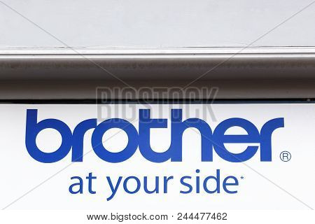 Voiron, France - June 1, 2018: Brother Sign On A Wall. Brother Is A Japanese Multinational Electroni
