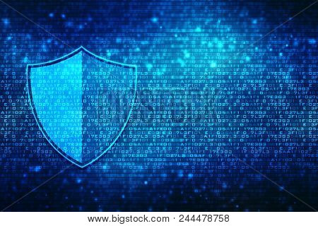 Security Concept,shield On Digital Screen, Cyber Security Concept Background. Internet Security Back