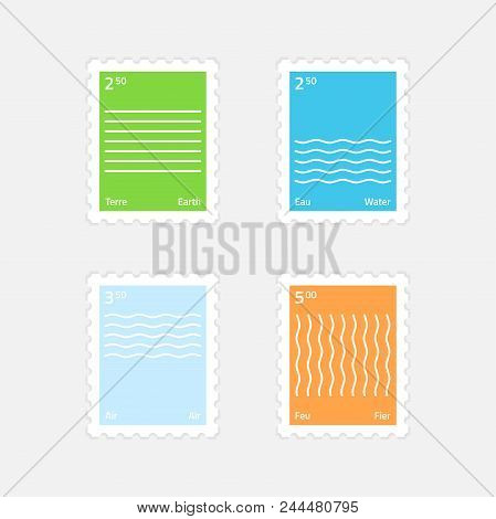 A Set Of Postage Stamps Minimalistic Style Four Elements. Earth, Water, Air, Fire. Isolated On A Lig