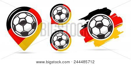 German Football Vector Icons. Soccer Goal. Set Of Football Icons. Football Map Pointer. Football Bal