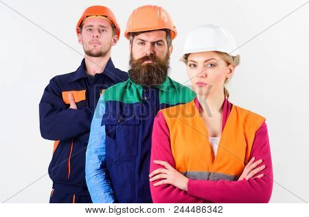Serious Workers Concept. Team Of Architects, Builders With Serious Faces, Isolated White Background.