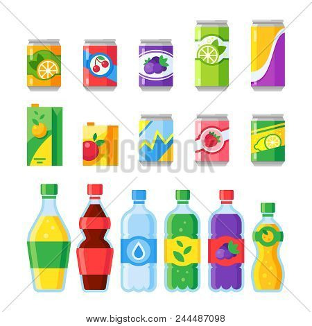 Drink Beverages. Cold Energy Or Fizzy Soda Beverage, Sparkling Water And Canned Fruit Juice In Glass
