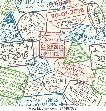 Travel Visa Airport Stamps Seamless Pattern. Traveling Document, Vise To Uk China France Canada Or G