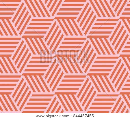 Seamless Pattern Of Linear Cube. Endless Cubic Background. Vector Illustration.