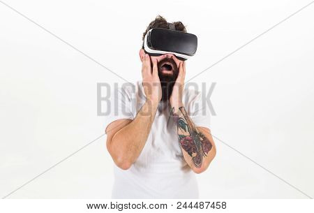Man With Beard In Vr Glasses, White Background. Vr Gadget Concept. Guy With Head Mounted Display Int