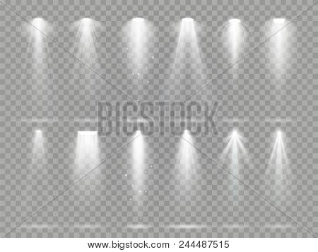 Bright Lighting Projector Beams On Theater Stage. Rays Of Studio Floodlights, White Spotlight Light