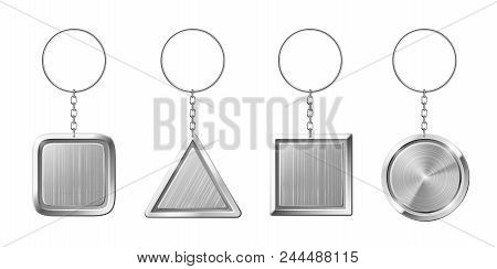 Key Ring With Silver Pendant Holder. Blank Keychain With Ring For Keys. Isolated Circle Triangle Squ