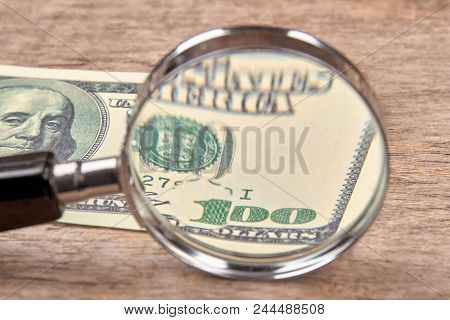 Dollar With Magnifier. Magnifying Glass And Money. Business Concept Background.