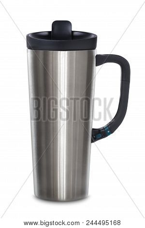 Aluminum Rambler Tumbler Vacuum Insulated Cup Hot Cold Beverage Isolated On White Background