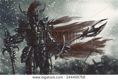 The Cruel Warrior Of Antiquity In Black Armor Won The Battle. Genre Of Fantasy.