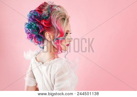 Stylish And Trendy Girl In A White Dress. Creative Hair Coloring. Multi-colored Hairstyle, Informal