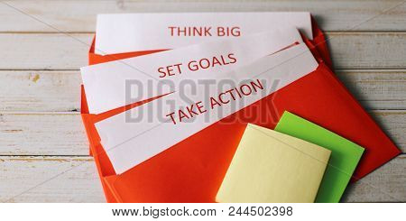 Set A Goal, Think Big And Take Action - The Concept Of Successful Actions For A Startup. Can Illustr