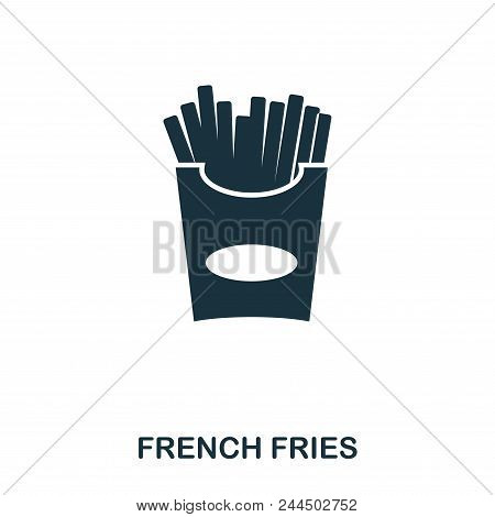 French Fries Icon. Mobile Apps, Printing And More Usage. Simple Element Sing. Monochrome French Frie