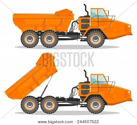 Detailed Illustration Of Mining Truck. Off-highway Truck With Different Body Position. Heavy Mining