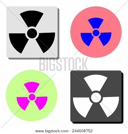 Radiation. Simple Flat Vector Icon Illustration On Four Different Color Backgrounds