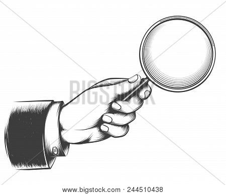Vintage Magnifier Glass. Victorian Man Hand With Magnifying Glass Sketch, Detective Hand With Lupe D