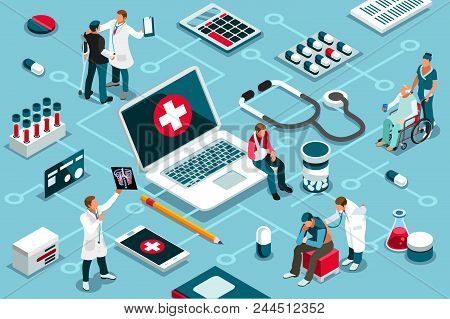 Treatment, Clinic Assistance On Medicine Services. Patient Concept And Clinic Diagnosis. Patient Ass