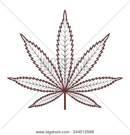 Marijuana Or Cannabis Leaf. Medical Cannabis. Vector Silhouette Of A Hemp Leaf. Vintage Marijuana La