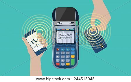 Hands With Smartphone And Bank Card - Payment Terminal Using Mobile Banking And Mobile Payment Servi