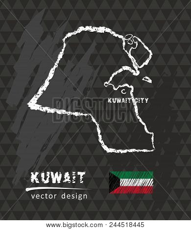 Kuwait Map, Vector Pen Drawing On Black Background