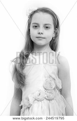 Girl With Flower Accessory In Long Blond Hair. Child In Rosy Dress Isolated On White. Fashion, Look,
