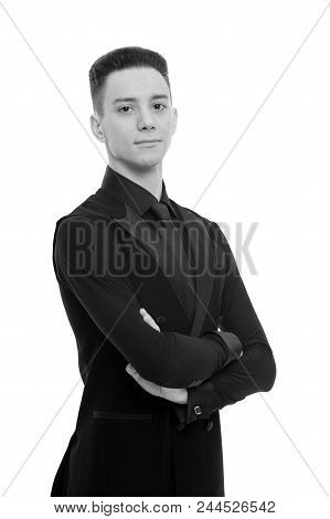 Guy On Confident Face Dressed In Formal Luxury Suit Posing With Posture. Posture And Confidence Conc