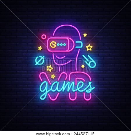 Vr Games Neon Sign Vector. Virtual Reality Logotype Games, Emblem In Modern Trend Design, Vector Tem