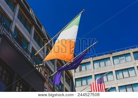 Dublin, Ireland - June 9th, 2018: Irish European And American Flags Waving From The Westin Hotel In
