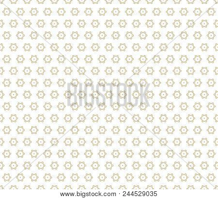 Golden Vector Seamless Pattern. Subtle Abstract Texture With Small Gold Snowflakes, Hexagonal Shapes