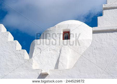 Church Dome With Small Window In Mykonos, Greece. Chapel Building Architecture Detail. White Church