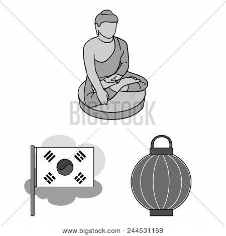 Country South Korea Monochrome Icons In Set Collection For Design.travel And Attraction Vector Symbo