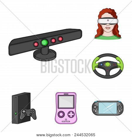 Game Console And Virtual Reality Cartoon Icons In Set Collection For Design.game Gadgets Vector Symb