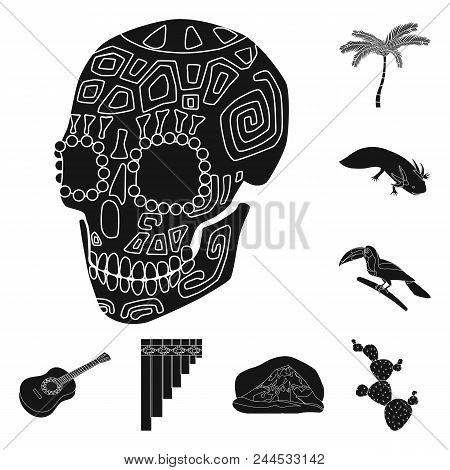 Country Mexico Black Icons In Set Collection For Design. Mexico And Landmark Vector Symbol Stock  Il