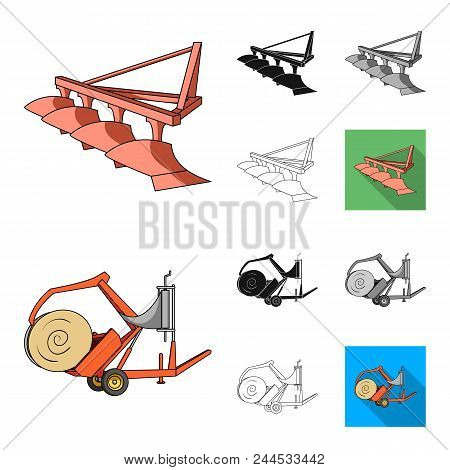 Agricultural Machinery Cartoon, Black, Flat, Monochrome, Outline Icons In Set Collection For Design.