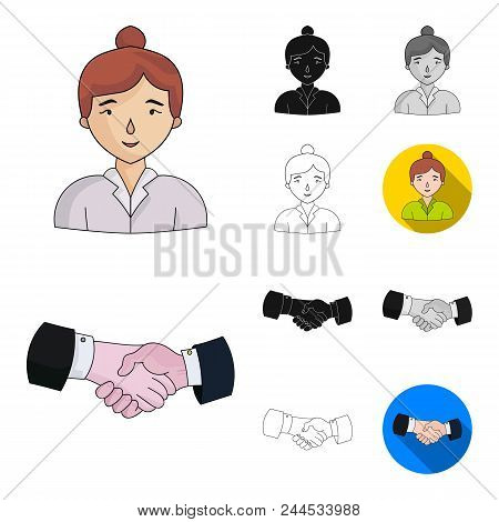 Business Conference And Negotiations Cartoon, Black, Flat, Monochrome, Outline Icons In Set Collecti